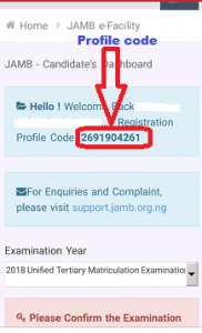 retrieve-jamb-profile-code